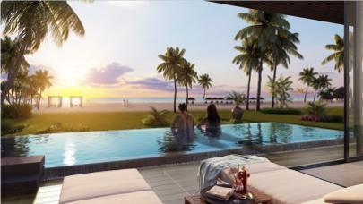 Tất cả các căn biệt thự và gần như toàn bộ phòng khách sạn đều có tầm nhìn hướng biển.