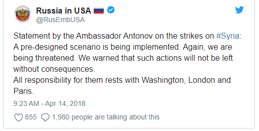 Cảnh báo của Đại sứ Nga tại Mỹ (Ảnh: Twitter)