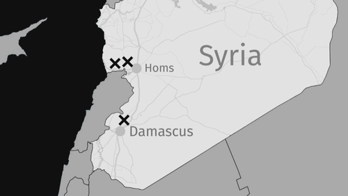 Bản đồ vị trí các mục tiêu tấn công của liên minh Mỹ - Anh - Pháp (Đồ họa: CBC)