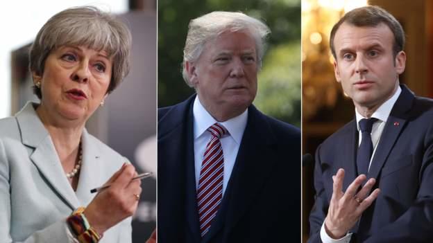 (Từ trái sang phải) Thủ tướng Anh Theresa May, Tổng thống Mỹ Donald Trump và Tổng thống Pháp Emmanuel Macron (Ảnh: Getty)