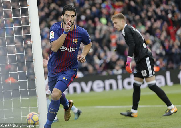 Luis Suarez đã ghi bàn vào lưới Celta Vigo ở lượt đi