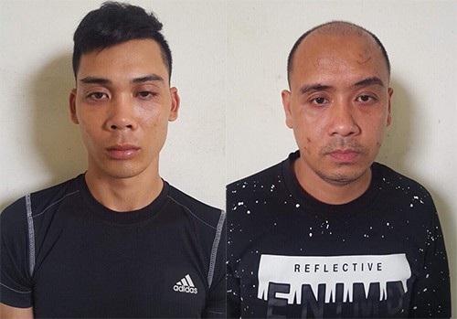 Hai nghi phạm Nguyễn Văn Thảo (trái) và Nguyễn Khánh Hưng (phải) bị bắt giữ (Ảnh: Công an cung cấp).