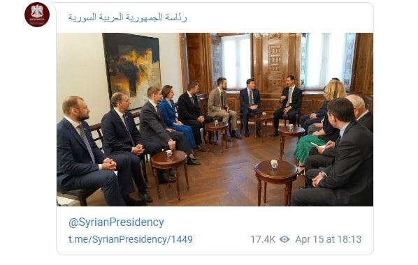 Tổng thống Assad tiếp các nghị sĩ Nga