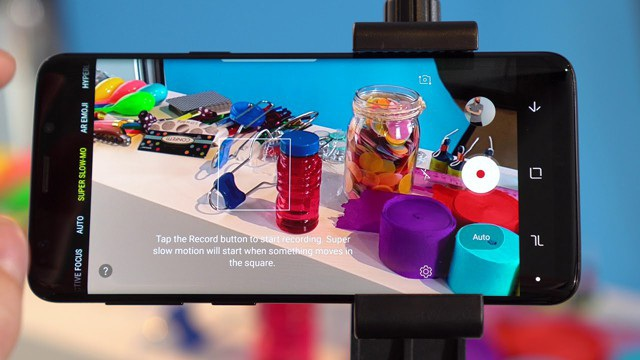 Giao diện quay siêu chậm trên Galaxy S9.
