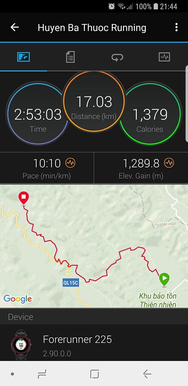 Quãng đường 25km trong Vietnam Jungle Marathon được Garmin 225 ghi lại chỉ được 17,3km. Ảnh: Gia Vinh