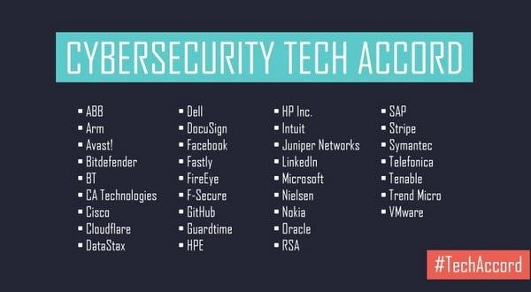 Danh sách 34 hãng công nghệ cùng tham gia hiệp định với rất nhiều cái tên lớn