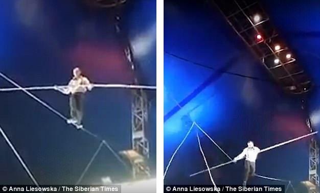 Một nghệ sĩ xiếc đi trên dây người Nga đã vừa bị ngã từ độ cao 8m xuống mặt sàn sân khấu.