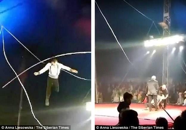 Khán giả hốt hoảng khi chứng kiến nghệ sĩ Sergey Marakov ngã từ trên dây xuống sàn.