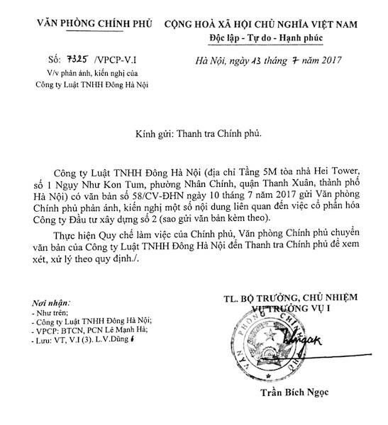 Ngày 13/7/2017, Văn phòng Chính phủ tiếp tục có văn bản số 7325/VPCP-V.I gửi Thanh tra Chính phủ.