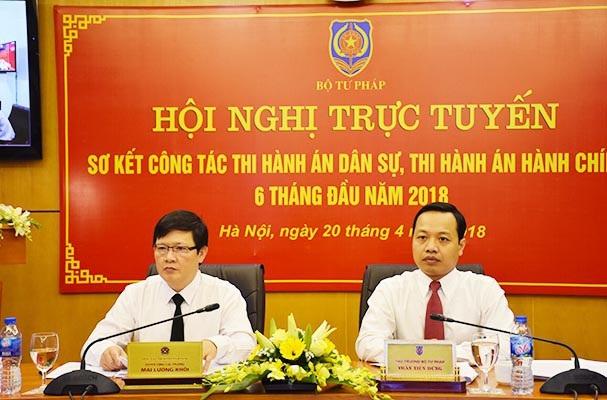 Thứ trưởng Bộ Tư pháp Trần Tiến Dũng (phải) và ông Mai Lương Khôi - Quyền Tổng cục trưởng Tổng cục Thi hành án dân sự chủ trì hội nghị.