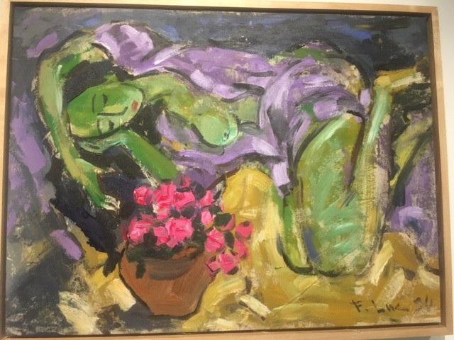 Người đẹp bên hoa vẽ năm 1994 trên chất liệu sơn dầu vải bố.