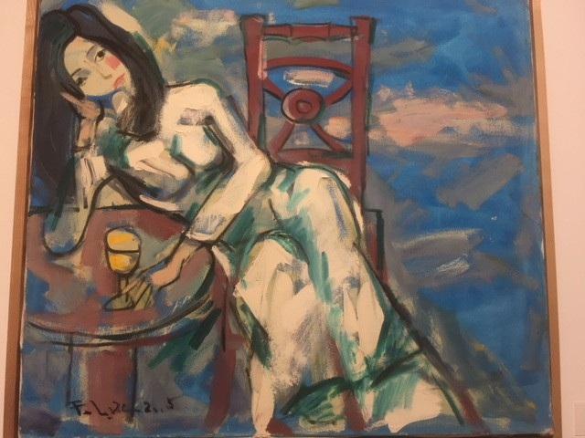 Cô Hồng vẽ 2005 trên chất liệu sơn dầu trên toan.