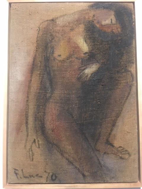 Thiếu nữ khoả thân 6 vẽ trên chất liệu sơn dầu bao tải.