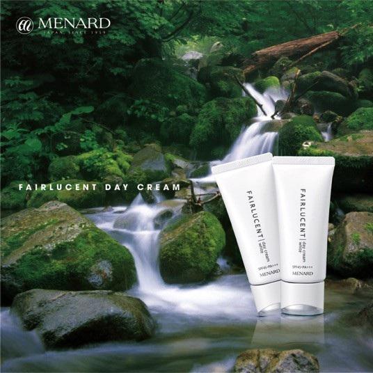 Dòng sản phẩm dưỡng trắng Fairlucent nổi tiếng của thương hiệu Menard Nhật Bản, chứa thành phần dưỡng trắng men Shirakami lấy từ vùng núi di sản Shirakami. Nguồn: Menard Việt Nam