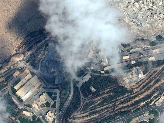 Ảnh vệ tinh cho thấy trung tâm nghiên cứu khoa học Barzeh của Syria bị không kích hôm 14/4. (Ảnh: Getty)