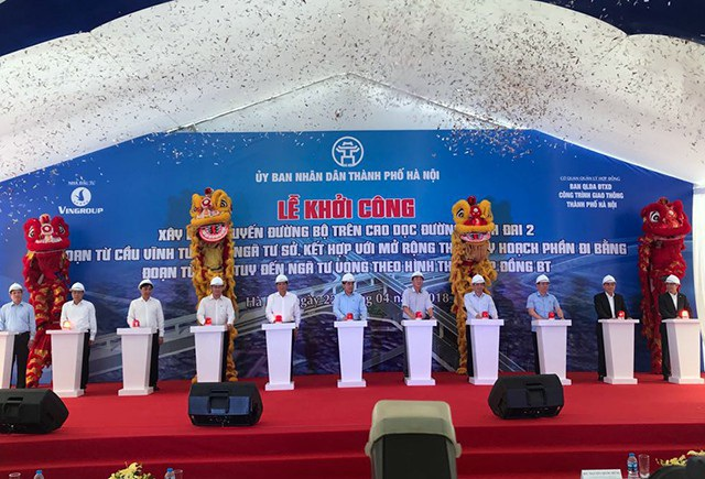 Hà Nội chính thức khởi công tuyến đường trên cao từ cầu Vĩnh Tuy đến Ngã tư Sở