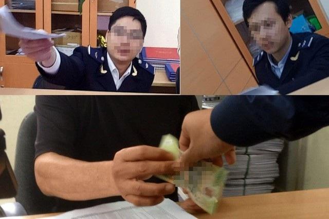 Những hình ảnh đăng tải trên báo Lao động về cảnh đưa nhận tiền tại Chi cục Hải quan Đĩnh Vũ.