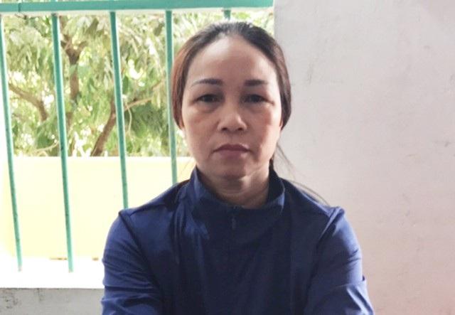 Bị can Trần Thị Oanh tại cơ quan cảnh sát điều tra Công an huyện Thanh Chương