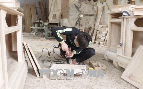 Làng nghề mộc mỹ nghệ Phương Độ, xã Xuân Phương (Phú Bình, Thái Nguyên) hiện có khoảng 50 hộ chuyên sản xuất và kinh doanh các sản phẩm mộc mỹ nghệ, tạo việc làm thường xuyên cho hơn 300 lao động địa phương. Ảnh: Hoàng Nguyên/TTXVN