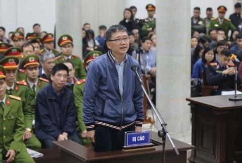 Trịnh Xuân Thanh trong phiên xét xử sơ thẩm tại TAND TP. Hà Nội vào đầu năm 2018.