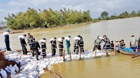 CBCS CSCĐ Tiểu đoàn 1 đào đắp, khôi phục bờ đê Gò Ông Ngôn ở xã Phước Hòa, huyện Tuy Phước (Bình Định).