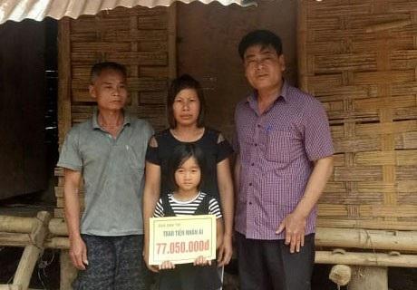 PV Báo Dân trí trao tiền bạn đọc ủng hộ qua Quỹ Nhân ái tới em Đinh Thị Tuyết Trinh (Mã số 2835) số tiền 77.050.000 đồng
