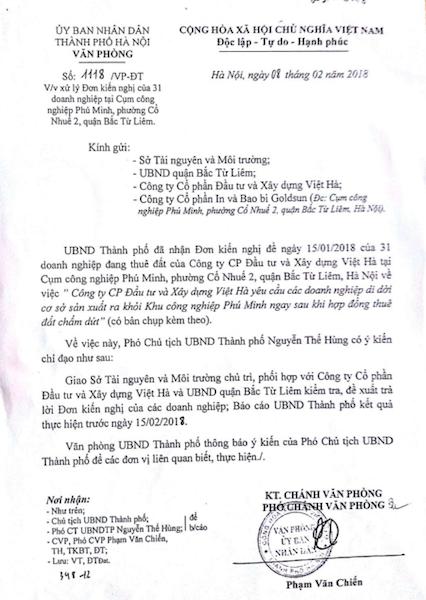 Thành ủy và UBND TP Hà Nội chỉ đạo giải quyết sự việc.