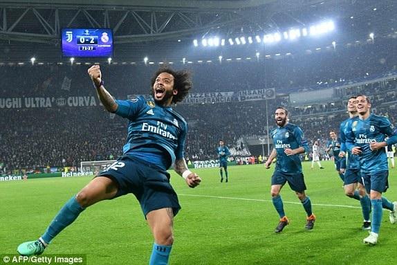 Niềm vui của Marcelo và Real Madrid cầm chắc tấm vé có mặt ở bán kết Champions League