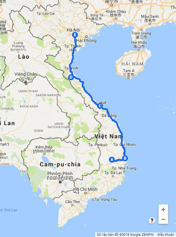 Sơ đồ đường đi của xe chở cây quái thú chui lọt hàng loạt CSGT từ Đắk Lắk ra Hà Nội (Đồ họa: Tiến Hiệp)