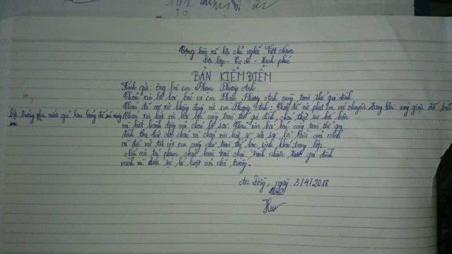 Bản kiểm điểm của cô giáo Nguyễn Thị Minh Hương sau khi xảy ra sự việc (ảnh: An Nhiên)