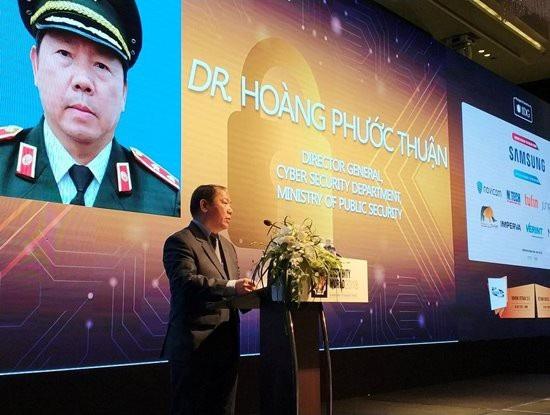 Cục trưởng Cục An ninh mạng Hoàng Phước Thuận phát biểu tại sự kiện.