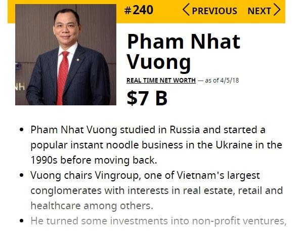 Lộ khối tài sản, ông Phạm Nhật Vượng có 7 tỷ USD: Top 100 giàu nhất hành tinh - 1