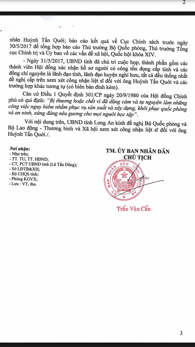 Buổi họp do UBND tỉnh Long An chủ trì gồm các thành viên Hội đồng xác nhận hồ sơ người có công tồn đọng cấp tỉnh đã thống nhất đề nghị xem xét công nhận liệt sĩ đối với quân nhân Huỳnh Tấn Quới.