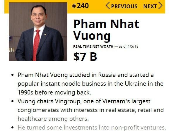 """Tỷ phú Việt Nam có 7 tỷ USD liên tục tăng hạng; doanh nhân """"giải cứu"""" tài xế cứu người - 1"""