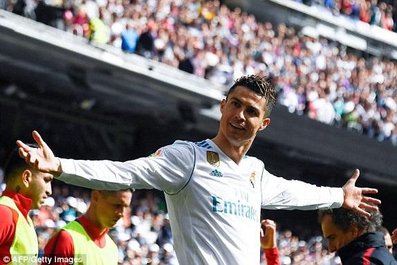 C.Ronaldo ăn mừng bàn thắng mở tỷ số vào lưới Atletico ở phút 55