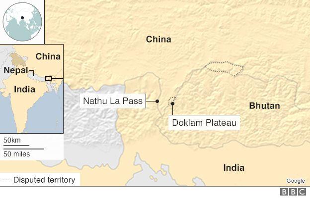 Một cuộc đối đầu căng thẳng kéo dài 73 ngày giữa Ấn Độ và Trung Quốc đã diễn ra tại Cao nguyên Doklam hồi năm ngoái (Đồ họa: BBC)