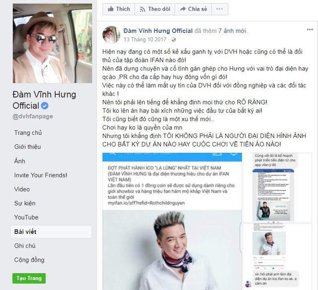 Đàm Vĩnh Hưng đăng tải trên Facebook cá nhân xác nhận thông tin mình tham gia ICO iFan là hoàn toàn sai sự thật. Ảnh: Facebook Đàm Vĩnh Hưng.