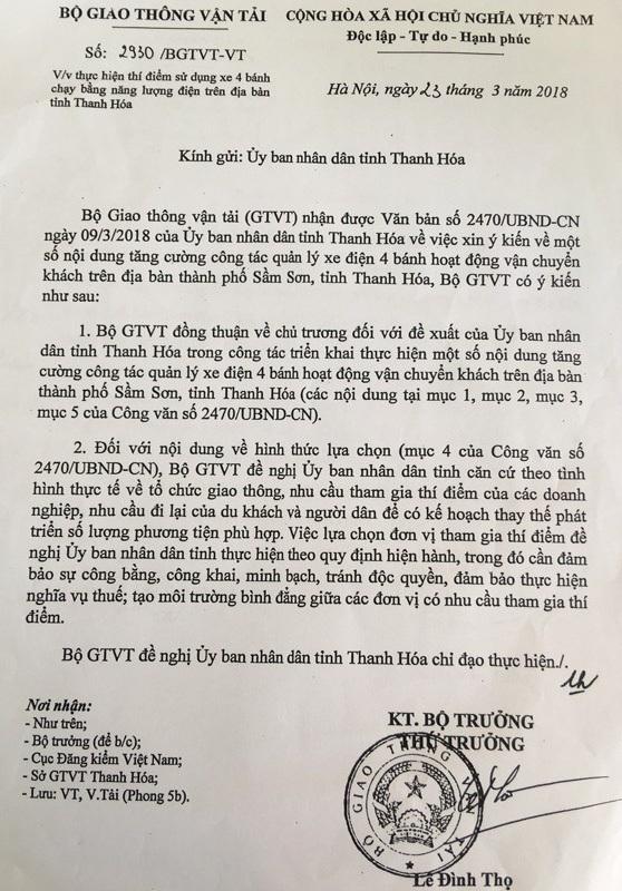 Bộ GTVT tiếp tục có công văn về việc thí điểm xe điện trên địa bàn tỉnh Thanh Hóa