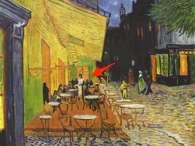 """Vincent Van Gogh gợi nhắc về bức """"Bữa tối cuối cùng"""" trong bức """"Cà phê vỉa hè trong đêm"""" (1888)."""