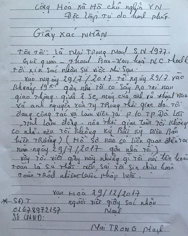 giấy xác nhận của anh Mai Trọng Mạnh