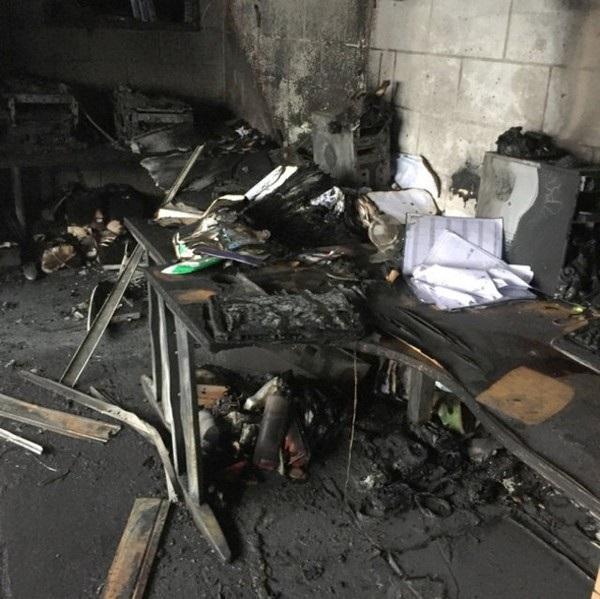 Văn phòng bị hư hại nghiêm trọng sau vụ hỏa hoạn