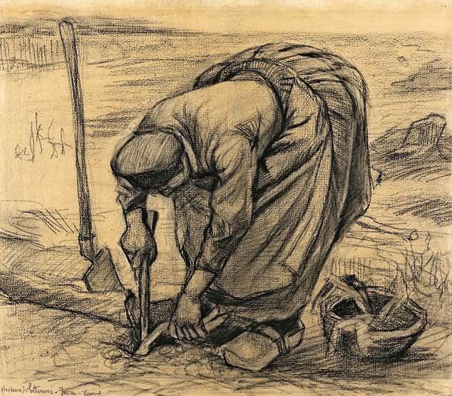 """Bức phác họa """"Vincent planteuse de betteraves - Juin"""" (Trồng củ cải đường tháng 6 - 1885) được thực hiện bởi danh họa người Hà Lan Vincent van Gogh"""