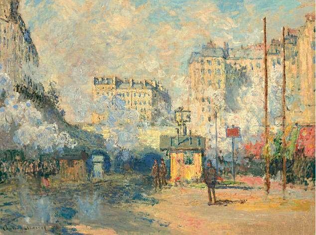 """Bức """"Extérieur de la gare Saint-Lazare, effet de soleil"""" (Bên ngoài nhà ga Saint-Lazare, hiệu ứng mặt trời - 1877) của danh họa người Pháp Claude Monet"""