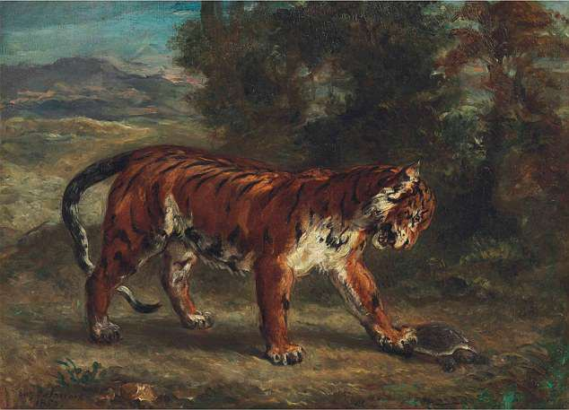 """Bức """"Hổ chơi với rùa"""" (1862) của danh họa người Pháp Eugene Delacroix"""