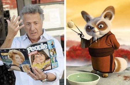 Dustin Hoffman không chỉ lồng tiếng rất đạt cho thầy Shifu mà còn trở thành chính nguyên mẫu để xây dựng nên nhân vật này