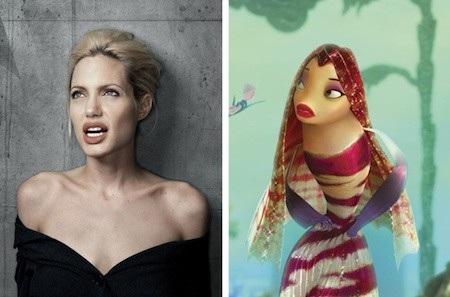 """Cho những ai còn đang thắc mắc về cặp môi gợi cảm của cô nàng cá Lola trong phim """"Shark tale"""", đây thực ra chính là sản phẩm dựa trên niềm cảm hứng về Angelina Jolie"""