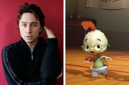 Chú gà Chicken Little nổi tiếng kỳ thực được xây dựng dựa trên nam tài tử Zach Braff