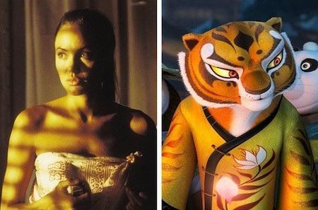 """Hổ sư tỉ trong """"Kungfu panda"""" rất lạnh lùng nhưng cũng rất cuốn hút, giống hệt như nữ minh tinh Angelina Jolie"""