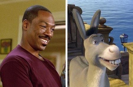 """Các bạn có phát hiện ra rằng nụ cười quen thuộc của Eddie Murphy đã được tái hiện lại trong dáng hình Donkey của bộ phim """"Shrek""""?"""