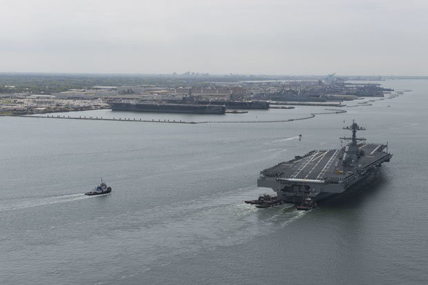 Tàu sân bay USS Gerald R Ford của Hải quân Mỹ (Ảnh: Getty)